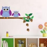 EJA Art Owl son branch Wall Sticker (Material - PVC) (Pec - 1) With Free Set of 12 pec butterflies sticker