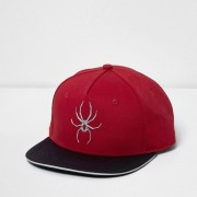 River Island Boys Red spider front flat peak cap
