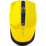 Безжична мишка CANYON Mouse CNS-CMSW5, Wireless, Optical 800/1280 dpi, USB, Жълта, CNS-CMSW5Y