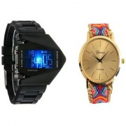 LED Rocket Black and Genera Gold Analog Watches for Men and Women