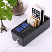 5 Smart USB Ports + 1 Quick Charger 2.0 Port + 6 Charger Stand Holder + 2 Extension Socket Power for iPhone iPad Samsung Sony EU Plug