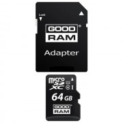 Goodram Memory Card M1aa Microsd Hc 64 Gb + Adattatore Sd Classe 10 Per Modelli A Marchio Kazam