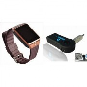 Mirza DZ09 Smart Watch and Car Bluetooth for LG OPTIMUS L4 II(DZ09 Smart Watch With 4G Sim Card Memory Card| Car Bluetooth)