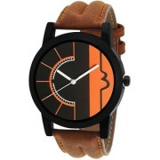 New Latest Chronograph Pattern Style Attractive Brown Genuine Leather Belt Watch For Men And Boys