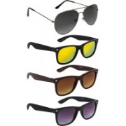 NuVew Aviator, Wayfarer Sunglasses(Brown, Grey, Golden, Violet)