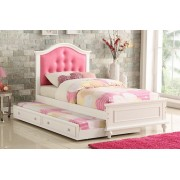 2 pc Trista collection white finish wood twin trundle bed pink tufted headboard