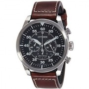 Citizen Brown Leather Round Dial Quartz Watch For Men (CA4210-16E)