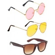 Elligator Round, Aviator, Wayfarer Sunglasses(Pink, Yellow, Brown)