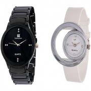 IIK Collction Black Men and Golry White Moon PU Couple Watches for Men and Women