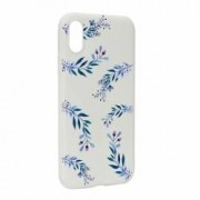 Husa Apple iPhone XS X Silicon Blue Flower W116