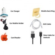 Mobile Accessories Combo (Data Cable + Aux Cable + Memory Card Reader + Mobile Back Ring + Car Charger + Mobile Holder)