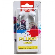 Maxell Plugz in ear Earphone with Mic For iPhone iPod Smartphone MP3(White)