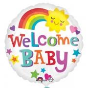 Balon folie 45 cm Welcome Baby Curcubeu