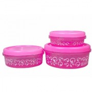 Nucleya Retail Set of 3 Plastics Designer Container Plastic Food Storage Containers Box (Pink)