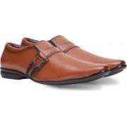 Axonza AXONZA Men's Synthetic Leather Office wear 169 Tan Slip on Formal Shoes Slip On For Men(Brown)