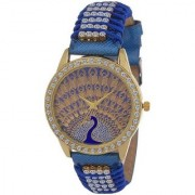 New Arrival Diamond Studded Blue Peacock Leather Watch For Girl Analog Watch - For Women