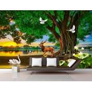 TMwallpaper Papel Pintado 3D Paisaje Verde Grande Del Lago Swan Del Alce Del rbol Fotomural Moderno Papel Tapiz Custom Wallpaper Mural