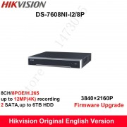 In stock DS-7608NI-I2/8P English version 2SATA 8 POE ports 8ch NVR supporting third-party camera, plug & play NVR POE 8ch H.265