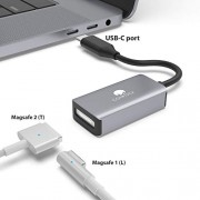 USB C to Magsafe 2 Adapter CONMDEX Type C to Magsafe Magnetic T-Tip/L-Tip Converter USB C to Magsafe 2/1 Connector Compatible New MacBook Pro,Samsung Note Book, Google Pixel 3/3XL(Grey)
