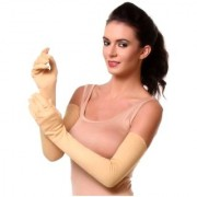 Tahiro Beige Cotton Full Arm Length Sun Rays Protecting Gloves - Pack Of 1