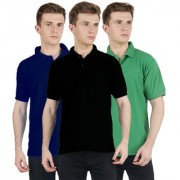 FUEGO Fashion Wear Combo Of Polo T-shirt For Men- Pack Of 3 FG-3CM-POLO-BLK-DB-LG