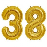De-Ultimate Solid Golden Color 2 Digit Number (38) 3d Foil Balloon for Birthday Celebration Anniversary Parties