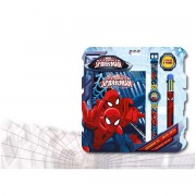 Disney mv92382 - stationary set + orologio digitale spiderman