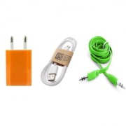 (Tricolor combo No 2 ) 3 in 1 combo of Usb Adopter Charging Data Cable and Aux cable by KSJ
