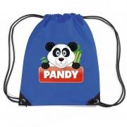 Bellatio Decorations Pandy de Panda trekkoord rugzak / gymtas blauw voor kinderen