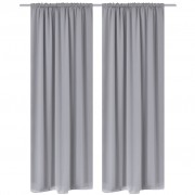 vidaXL 2 pcs Grey Slot-Headed Blackout Curtains 135 x 245 cm