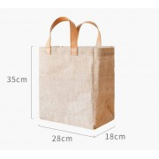 Miljösmarta Jute shopping väska med läderhandtag