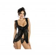 Cocodeal Mujer Dormir Vestido G-String Tentación-Negro