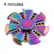 T6 Fidget Spinner Toy Stress Reducer Anti-Anxiety Toy for Children and Adults 4 Minutes Rotation Time Big Steel Beads Bearing + Zinc Alloy Material Colorful Seven Leaves