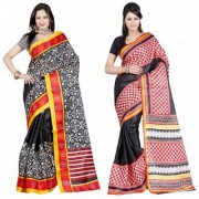 Black Red Geometric Printed Dupion Silk Saree With Blouse (Combo Of 2)