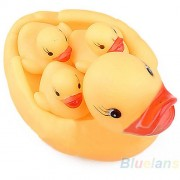 AST Works Funny Cute Baby Bath Bathing Toys Rubber Squeaky Ducks Yellow 1 Big 3 Small BA4U