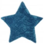 Covor Shaggy Soft, Forma Stea, Turcoaz, 100x100