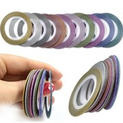 Looks United 10 Mixed Color New Arrival Glitter Self Adhesive Nail Art Striping Tape Rolls