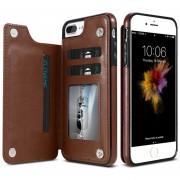 Floveme Para IPhone 8 Plus Y 7 Plus Crazy Horse Textura Horizontal Flip Genuino Cuero Funda Protectora Con Ranuras Para Tarjetas Y Titular (cafe)
