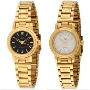 HWT Round White Dail And Black Dial Gold Metal Analog Watch Combo For Women