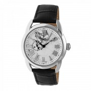 Heritor Automatic Marcus Marbled-Dial Leather-Band Watch - Silver/White HERHR5901