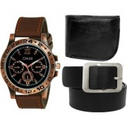 Crude Combo of Analog Black Dial Watch-rg736 With Black Leather wallet