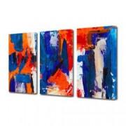 Tablou Canvas Premium Abstract Multicolor Albastru Rosu Alb 3 Decoratiuni Moderne pentru Casa 3 x 70 x 100 cm