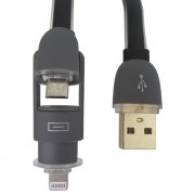 Cable USB 2.0 Lighthing + MicroUSB negro genérico 025150N