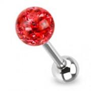 Tongpiercing met ferido multi crystal met Epoxy rood