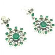 Women Earrings Designer Floral 925 Sterling Silver Natural Green Onyx Gem Stone