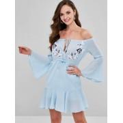 Zaful Applique à cordon de la robe à l'épaule Bleu Oeuf de Robin M