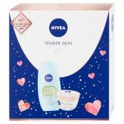 Nivea Tender Skin Zázvor & Bazalka sprchový gel s jílem pro ženy 250 ml + Cherry blossom & Jojoba Oil tělové suflé s olejem 200 ml dárková sada