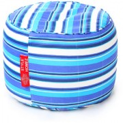 Style Homez Round Cotton Canvas Stripes Printed Bean Bag Ottoman Stool Large Cover Only Blue Color
