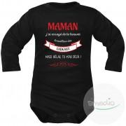 SiMEDIO Body bébé original : MAMAN j'ai essayé de te trouver le meilleur des cadeaux - Noir Longues 12-18 mois