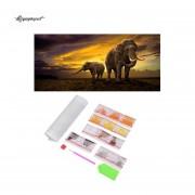 EY 5D Diamond pintar elefante bordado Amanecer perfecto para casa Decoración de pared-Multicolor